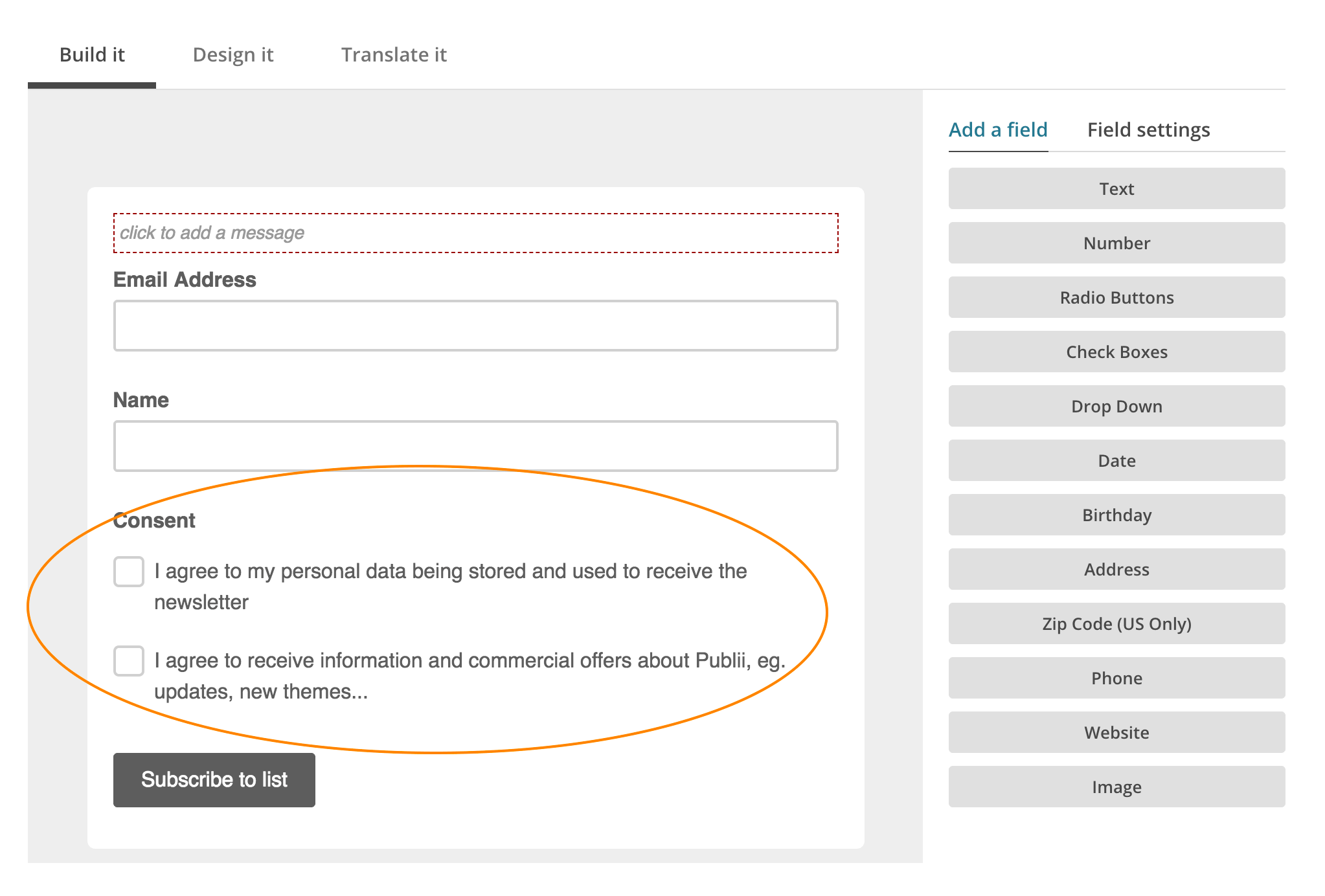 Form with checkboxes for the consent agreements
