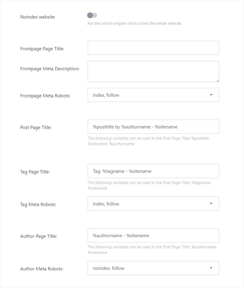 New Publii Seo Option