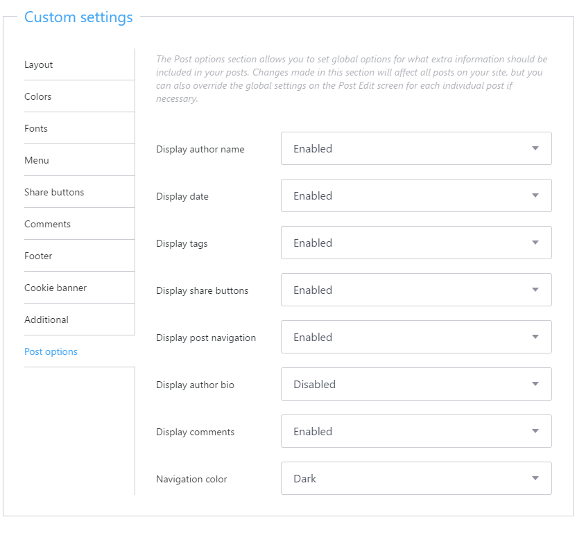 Post layout options