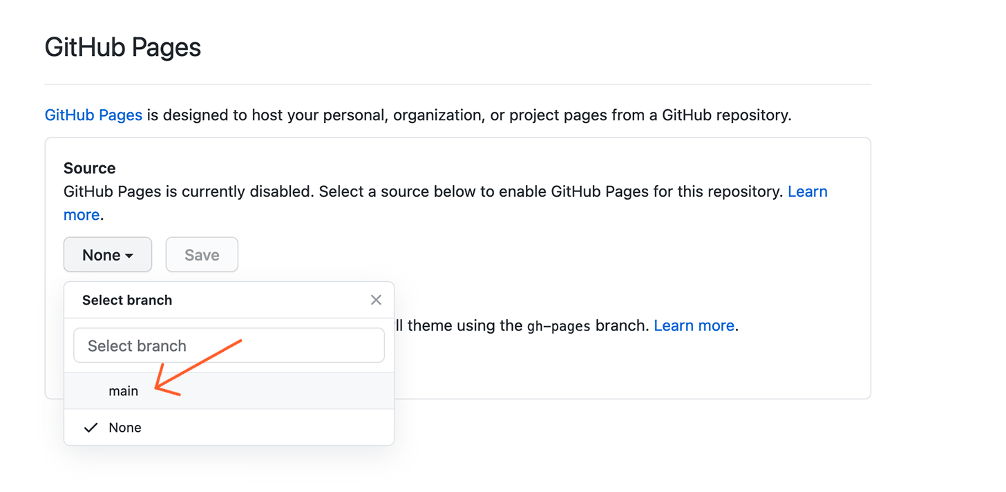 Github Pages Main Branch