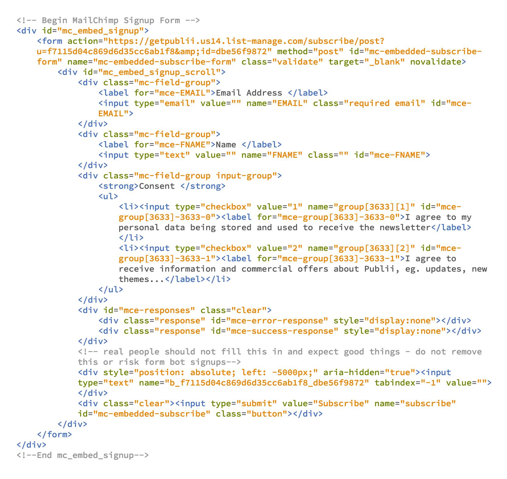 Newsletter code form