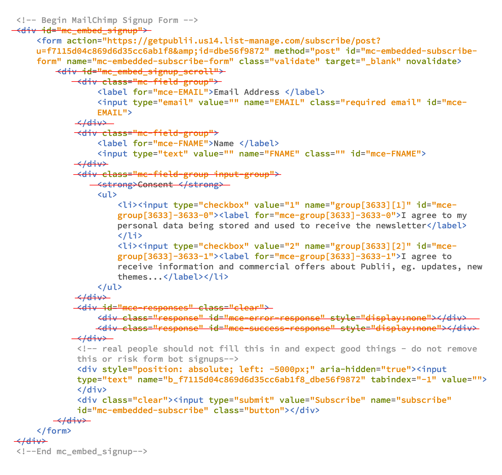 Removing unnecessary HTML elements from newsletter form