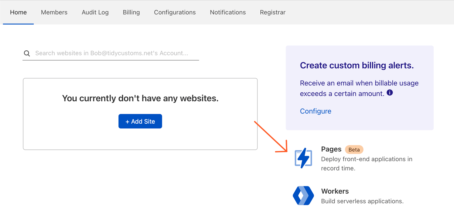 Cloudflare select Pages